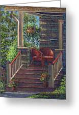 Porch With Red Wicker Chairs Greeting Card