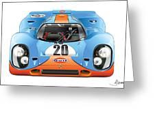 Porsche 917 Gulf On White Greeting Card
