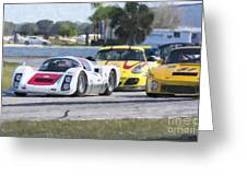 Porsches In The Corner At Sebring Raceway Greeting Card