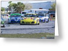 Porsches Rounding The Corner At Sebring Greeting Card