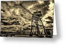 Port Crane At Sunset Greeting Card