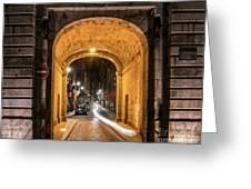 Port Dinan Archway At Night Greeting Card