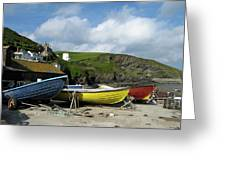 Port Isaac Boats Greeting Card