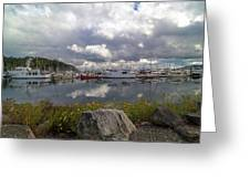 Port Of Anacortes Marina On A Cloudy Day Greeting Card
