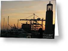 Port Of Oakland Sunset Greeting Card