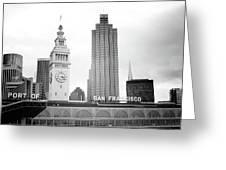 Port Of San Francisco Black And White- Art By Linda Woods Greeting Card