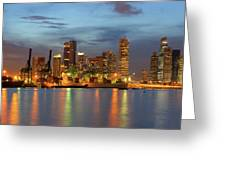 Port Of Singapore With City Skyline Greeting Card