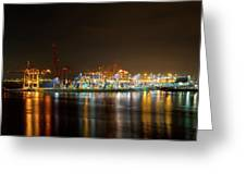 Port Of Vancouver Bc At Night Greeting Card