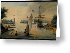 Port Scene With Sailing Ships Greeting Card