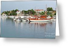 Port With Sailboat And Fishing Boat Greeting Card