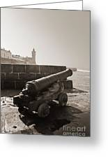 Porthleven Cannon Sepia Greeting Card
