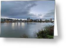 Portland City Downtown Cityscape During Evening Greeting Card