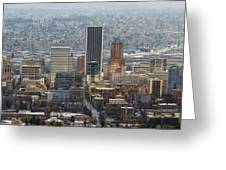 Portland City Downtown Cityscape Panorama Greeting Card