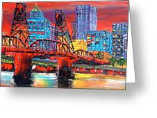 Portland City Lights Over The Hawthorne Bridge Greeting Card