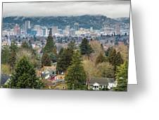 Portland City Skyline From Mount Tabor Greeting Card