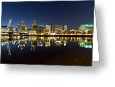 Portland City Skyline Reflection On Willamette River Greeting Card