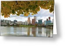 Portland City Skyline Under Fall Foliage Greeting Card