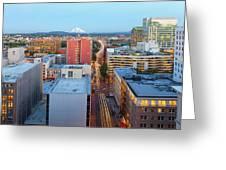 Portland Cityscape Along Morrison Bridge Greeting Card