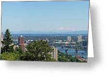 Portland Cityscape And Bridges On A Clear Blue Day Greeting Card