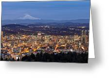Portland Cityscape During Blue Hour Greeting Card