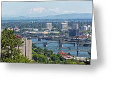 Portland Cityscape With Mount Saint Helens View Greeting Card