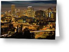 Portland Downtown Cityscape And Freeway At Night Greeting Card