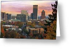 Portland Downtown Cityscape During Sunrise In Fall Greeting Card
