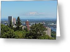 Portland Downtown Cityscape With Mount Saint Helens View Greeting Card