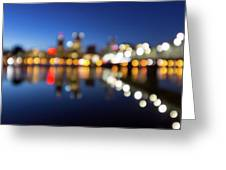 Portland Downtown Skyline Blue Hour Blurred Defocused Bokeh Greeting Card