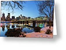 Portland Downtown Winter Night Scene Greeting Card