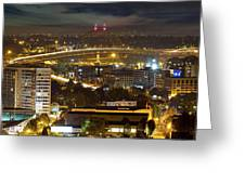 Portland Fremont Bridge Light Trails At Night Greeting Card