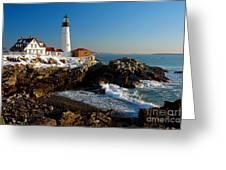 Portland Head Light - Lighthouse Seascape Landscape Rocky Coast Maine Greeting Card