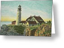Portland Head Light At Sunrise Greeting Card