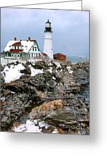 Portland Head Light In Winter Greeting Card