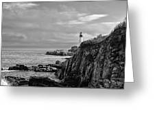 Portland Head Lighthouse - Cape Elizabeth Maine In Black And White Greeting Card