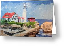 Portland Headlight By The Sea Greeting Card
