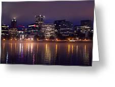 Portland Night Skyline Greeting Card