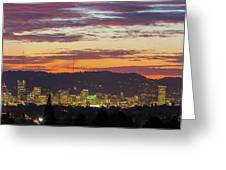 Portland Oregon City Skyline Sunset Panorama Greeting Card