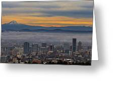 Portland Oregon Cityscape And Mount Hood At Sunrise Greeting Card
