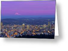 Portland Oregon Cityscape At Dusk Greeting Card