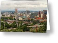 Portland Oregon Downtown Cityscape By Freeway Greeting Card