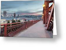 Portland Oregon Downtown On Broadway Bridge Greeting Card