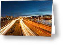 Portland Oregon Interstate Freeway Light Trails Greeting Card