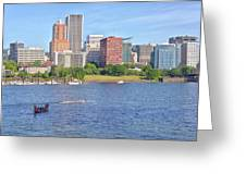 Portland Oregon Skyline And Rowing Boats. Greeting Card