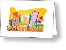 Portland Oregon Skyline In State Map Greeting Card