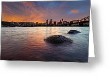 Portland Skyline Along Willamette River At Sunset Greeting Card