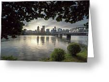 Portland Skyline Under The Trees At Sunset Greeting Card