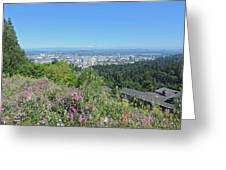 Portland Skyline With Mount Hood Greeting Card