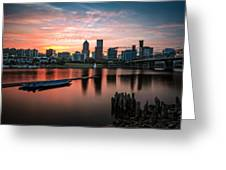 Portland Sunset Greeting Card