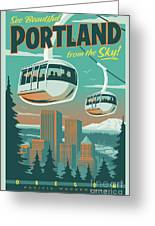 Portland Poster - Tram Retro Travel Greeting Card